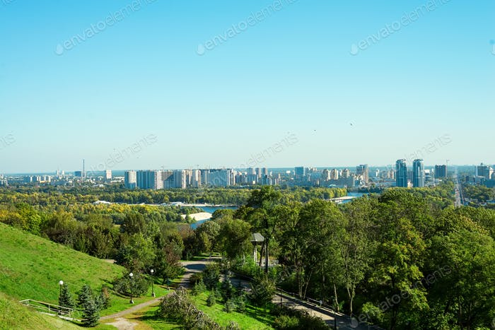 View of the Dnieper and the left bank with high rises from the hills of the Kyiv Pechersk Lavra