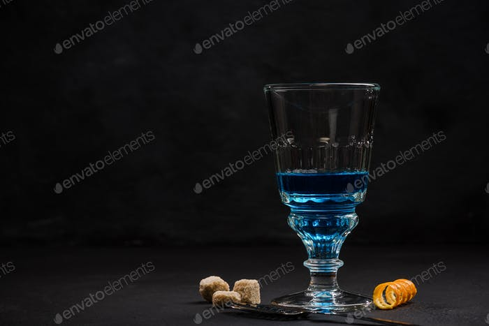 Shoot of blue Absinthe, anise vodka