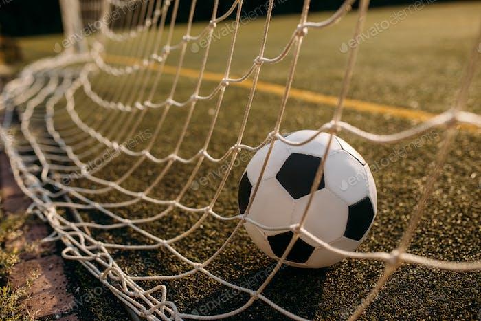 Soccer ball in the gate net, nobody