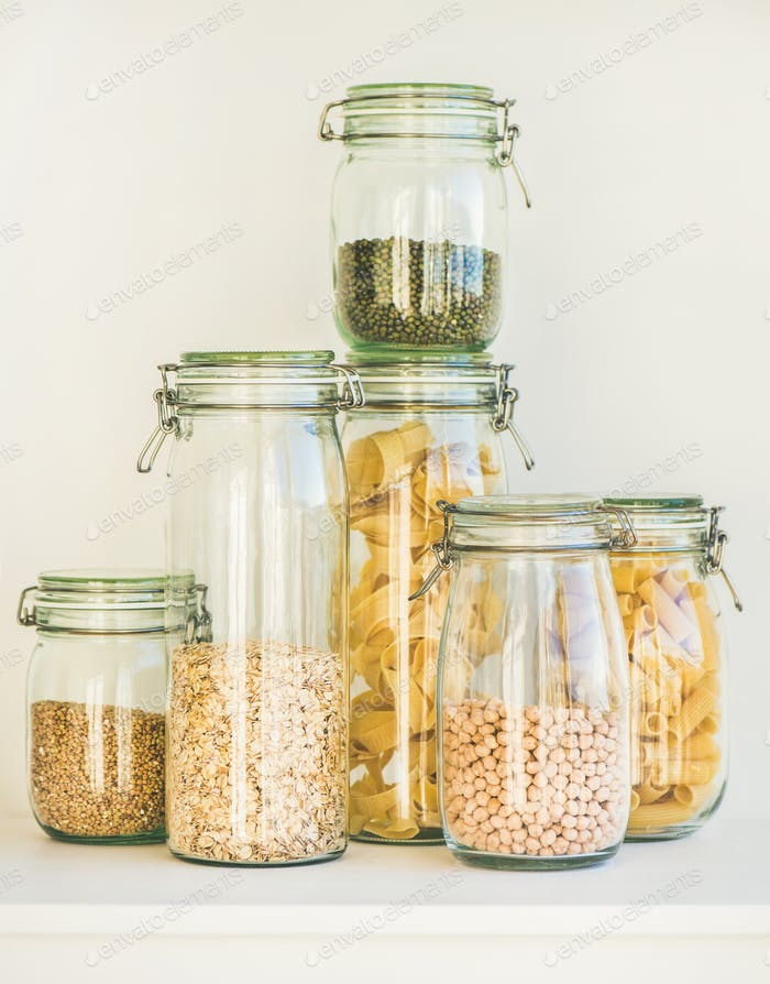 Raw cereals, grains, beans and pasta for healthy cooking