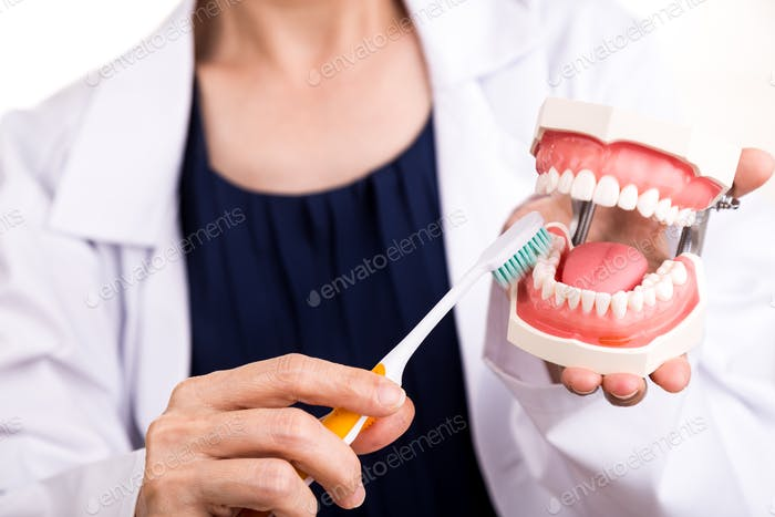 Series of dentist showing correct method of brushing teeth