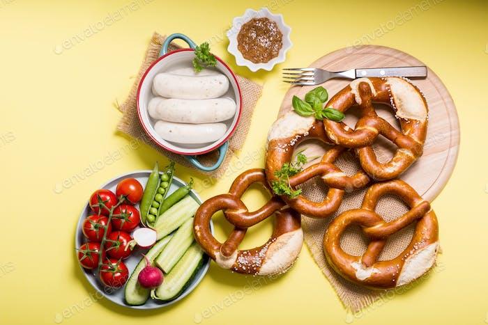 Pretzels and White Sausages, Oktoberfest, German Food