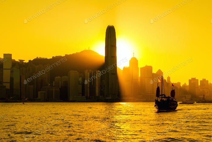 Silhouette of Hong Kong city