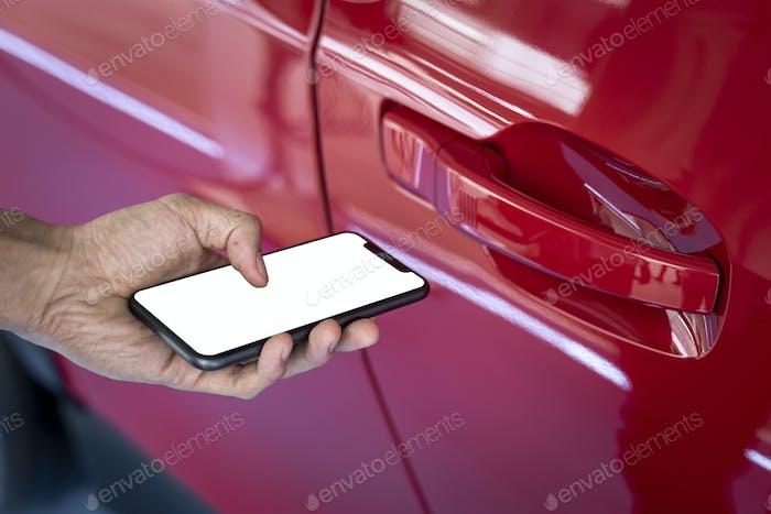 Unlocking rental car by smartphone app