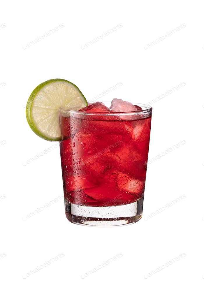 Refreshing Vodka Cranberry Cocktail on White