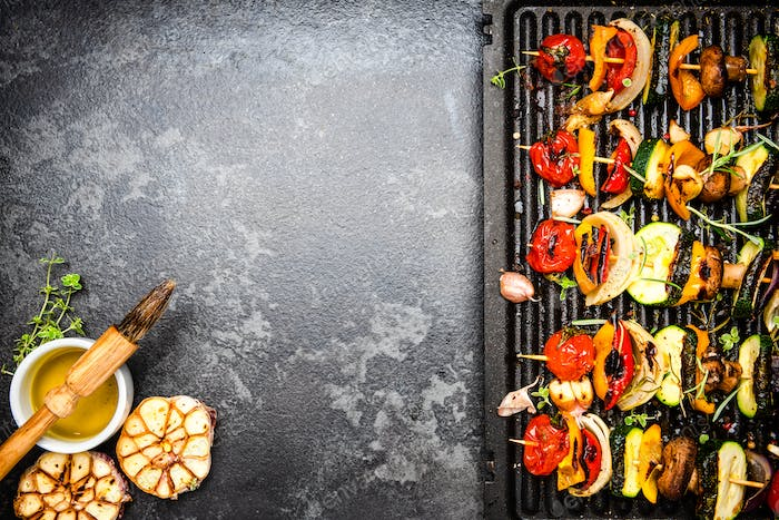 Barbecue Grilled Vegetables Skewers. Food Background with Copy Space