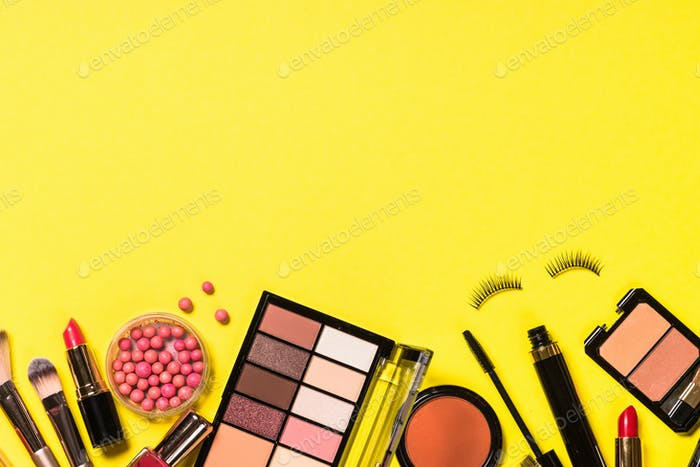Set of Makeup professional cosmetic top view