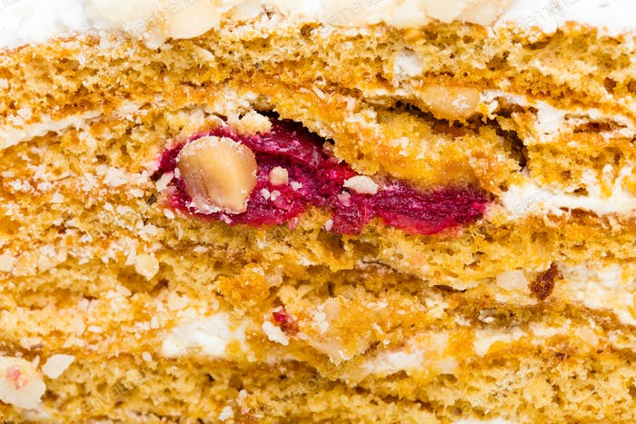 Delicious cake with cherry and cream cheese.