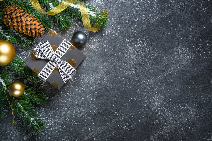 Christmas background on black table