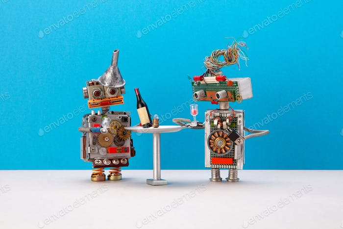 Two robots celebrate system upgrade. Wine booze party concept