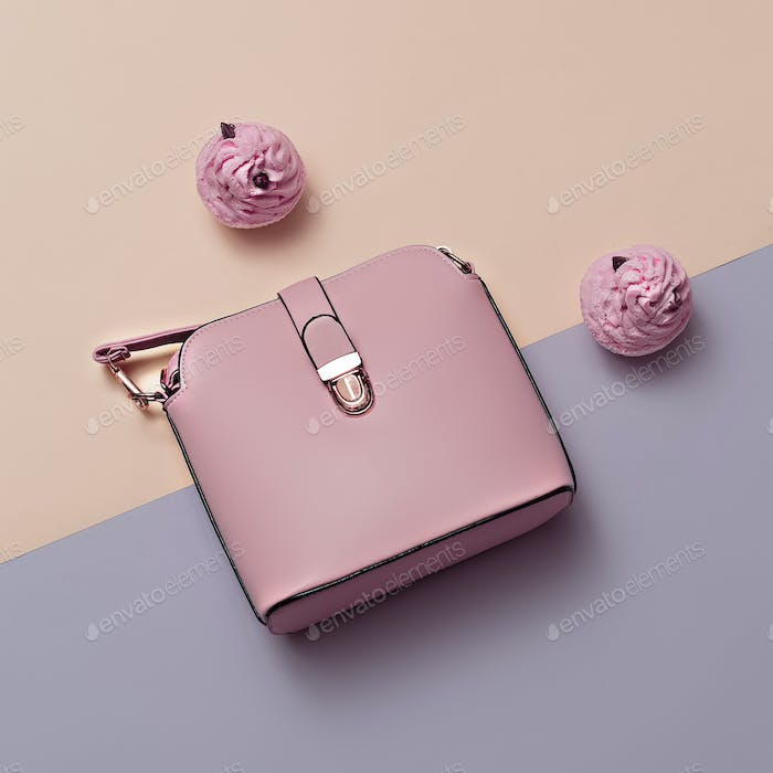 Ladies Fashion Accessories. Pink Bag Pastel colors Trend Minimal