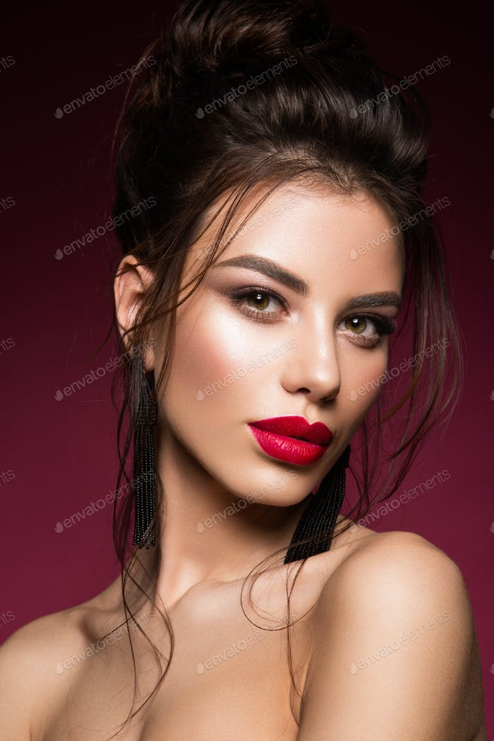 Gorgeous Young Brunette Woman face portrait.