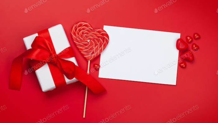 Valentines day. Gift boxes and heart candy sweets