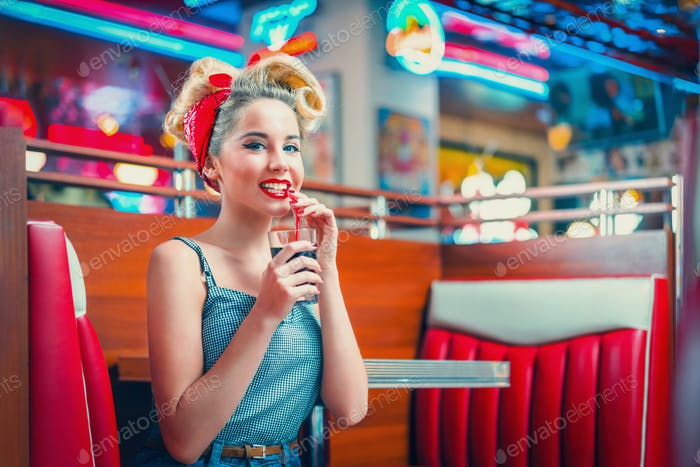 Woman in retro cafe