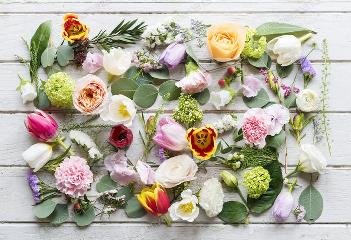 Various Fresh Flowers with Blank Design Space on Wooden Backgrou