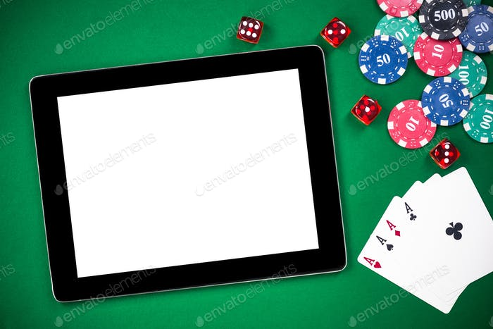 Mock up template tablet on casino poker table