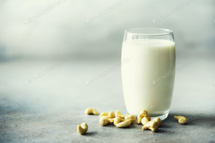 Vegan cashew milk in glass with cashews nuts on grey concrete background, copy space. Vegetarian