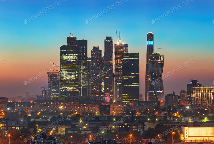Top view of Moscow city skyline at night