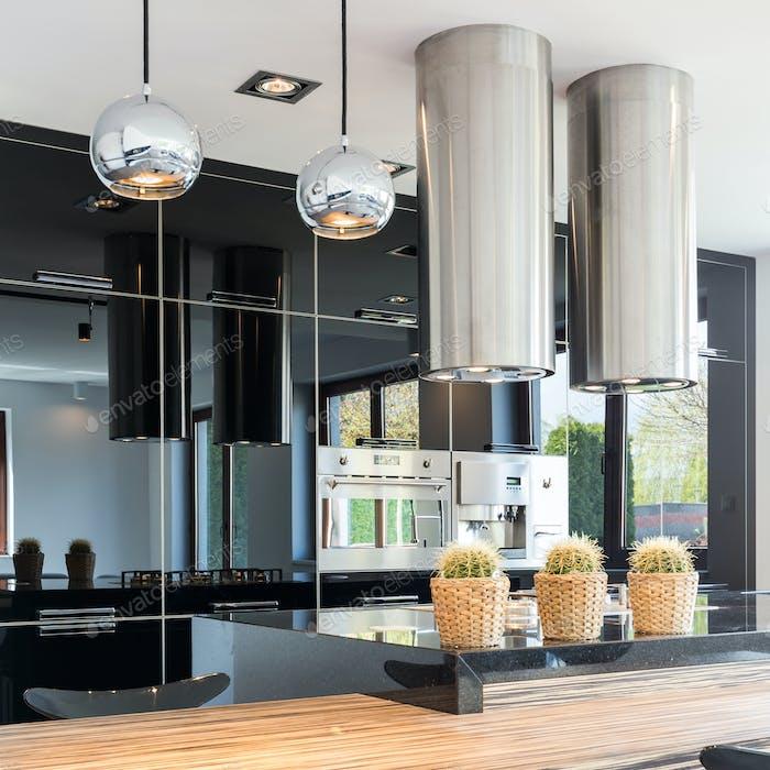 Stylish black open kitchen