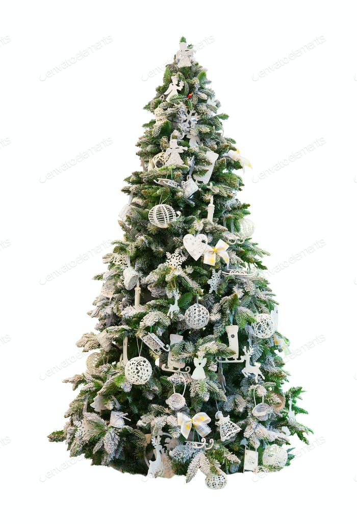 Decorated Xmas tree, white background