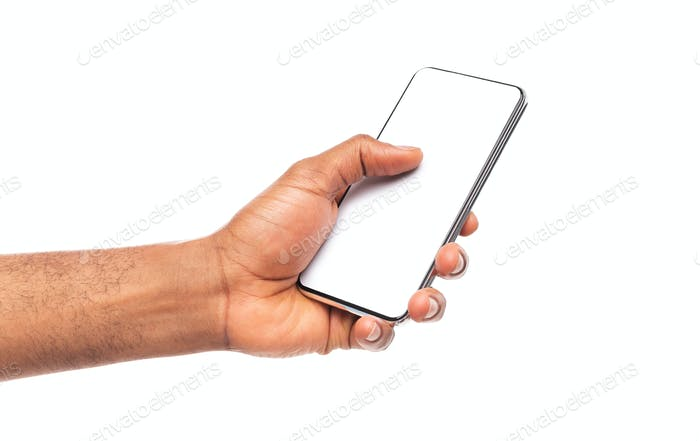 Modern frameless smartphone with blank screen in afro man's hand