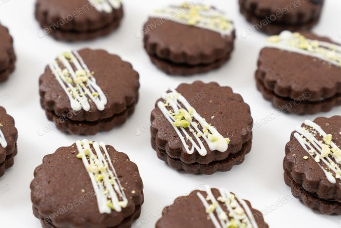 Rundes Schokoladen-Sandwich-Kekskekse