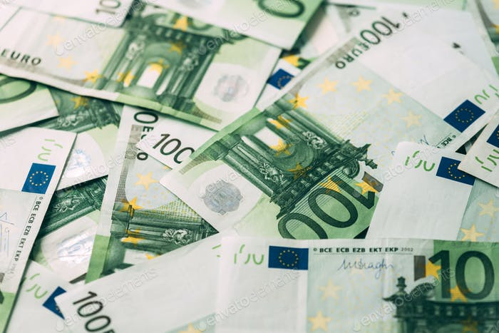 Euro cash stack closeup
