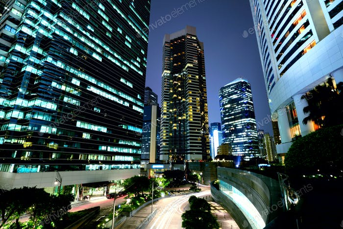 Corporate building in Hong Kong at night