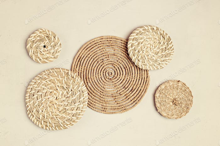 Rattan wall decor bohemiam style. Eco friendly trendy room decoration
