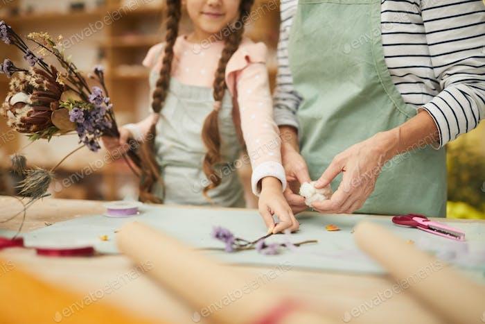 Little Girl Making Herbarium