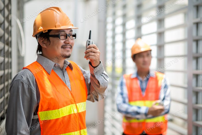 Foreman with walkie-talkie