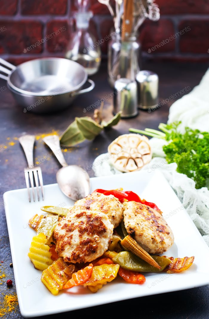 Gemüse mit Schnitzel