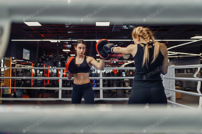 Two women boxing on the ring, box workout