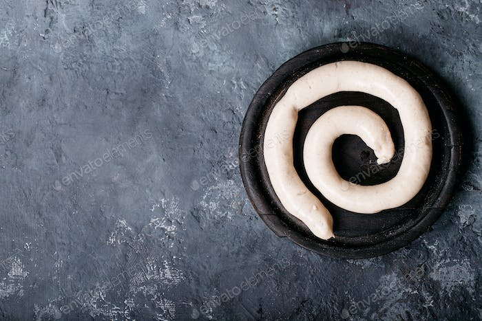Snail sausage in traditional spiral