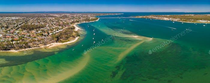 Aerial drone view of south part of Bribie Island, Queensland, Au