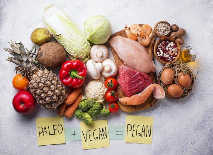 Pegan diet. Paleo and vegan products