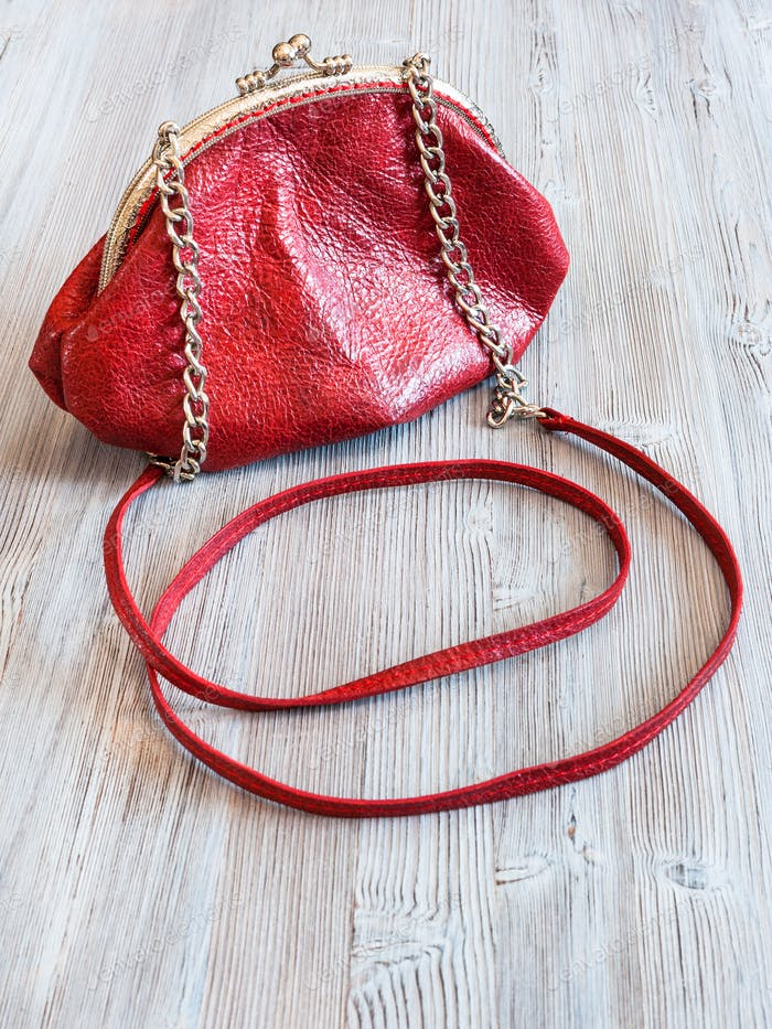 little red leather women's handbag