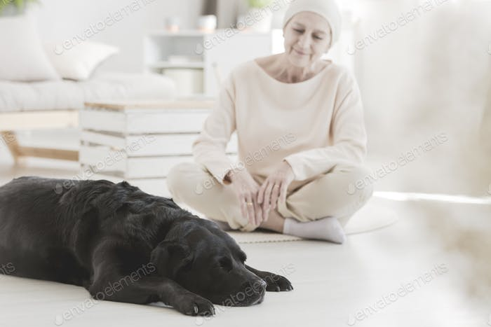 Woman with cancer and dog