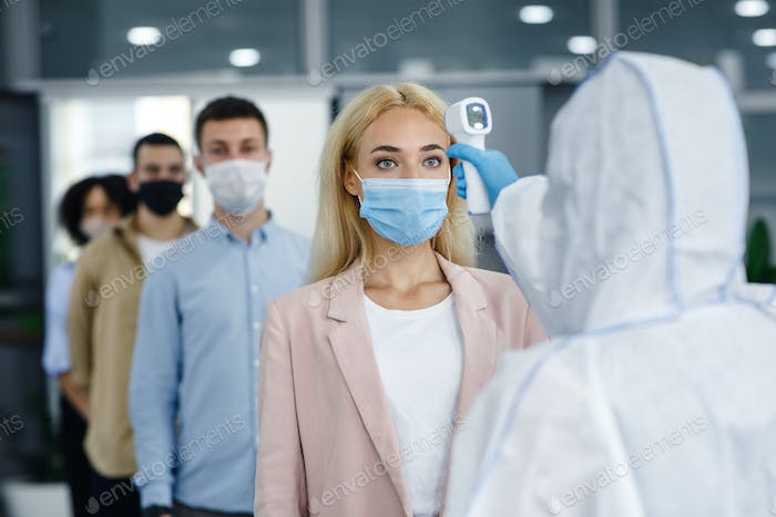 Corporate social distance are new standard to protect health during coronavirus epidemic. Man in