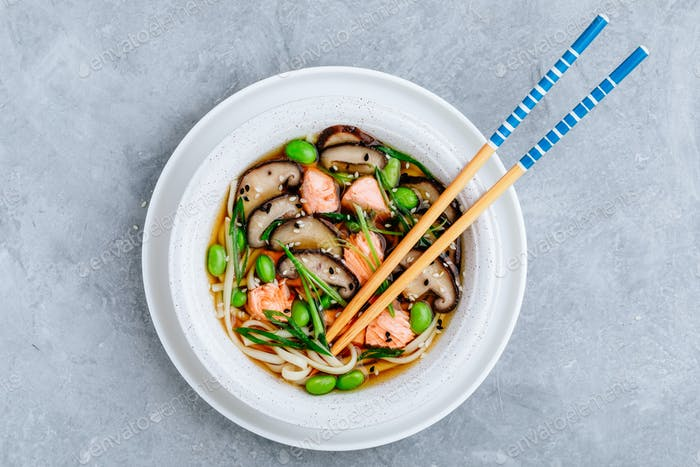 Salmon Noodle Soup with shiitake mushrooms, edamame beans and green onion.