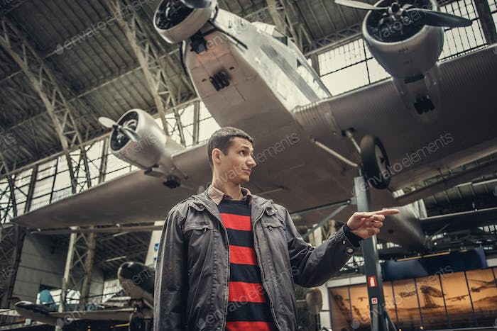 Man on airplanes exhibition.