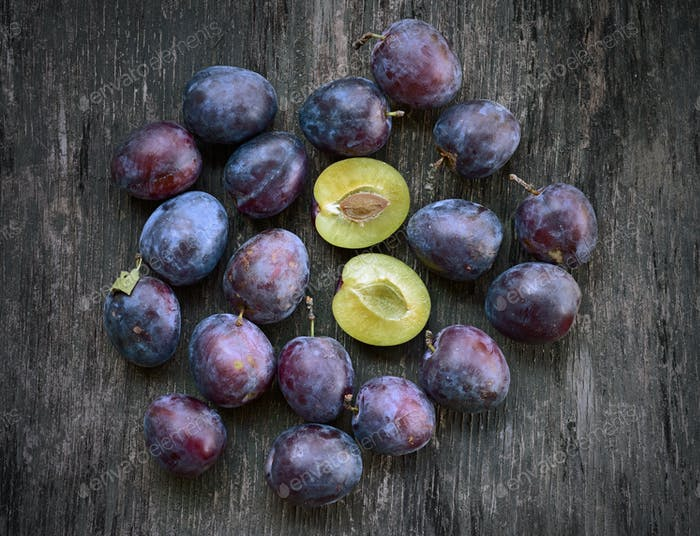 plum on the table
