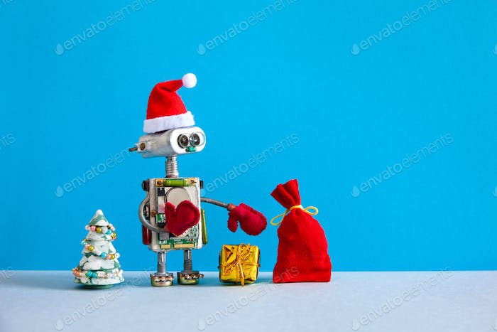 Christmas background. Funny Santa hat robot holds box present and a bag of gifts.