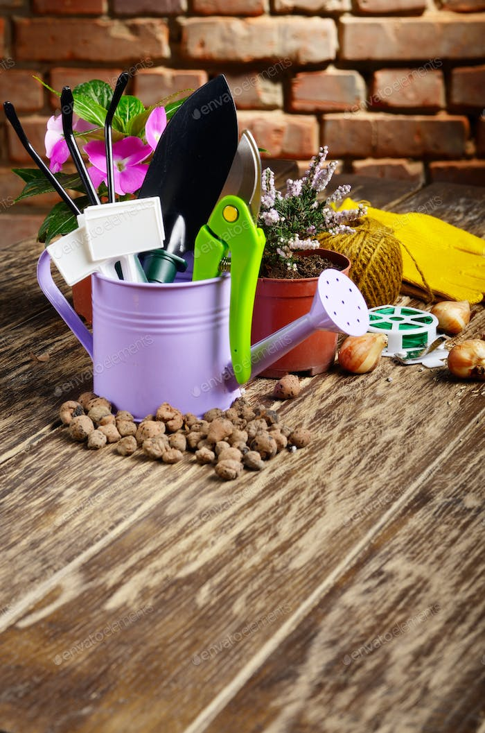 Gardening tools of shovel rake labels and watering can on wooden