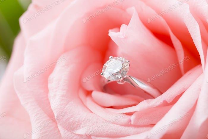 Rosa Rose mit Diamantring