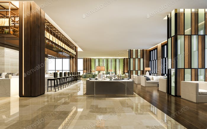 3D Rendering-Loft und Luxus-Hotel-Lounge mit Theke