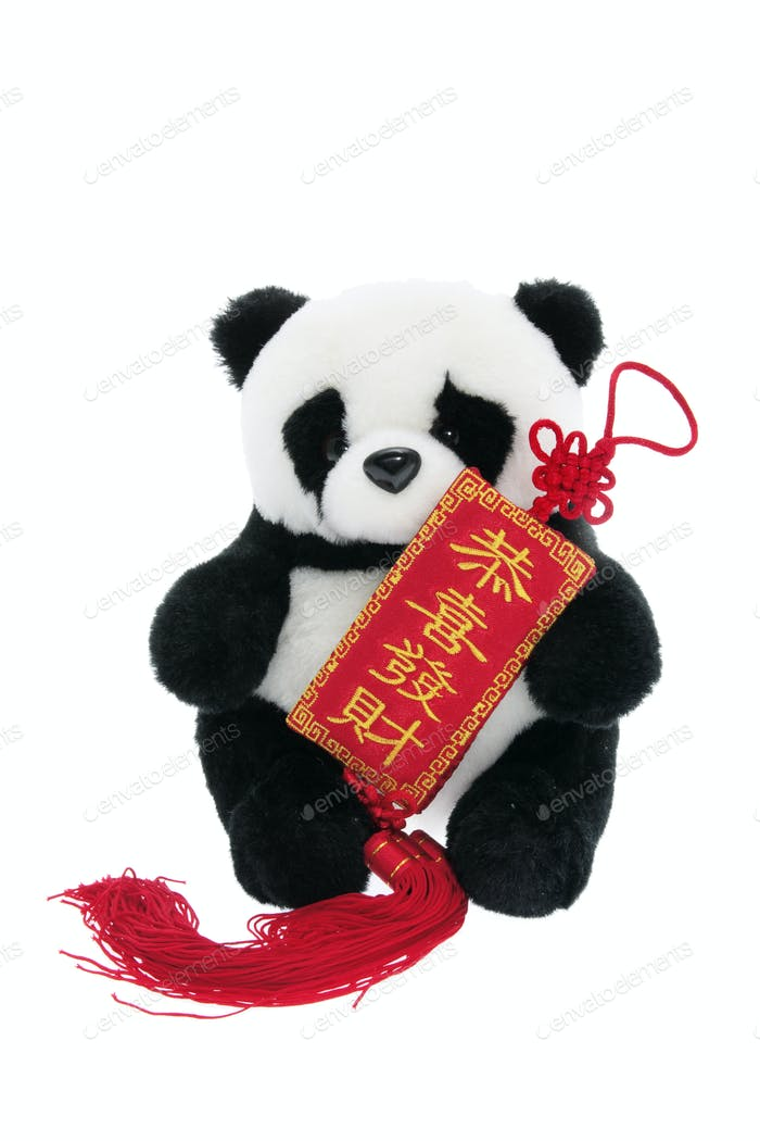Toy Panda with Chinese New Year Trinket