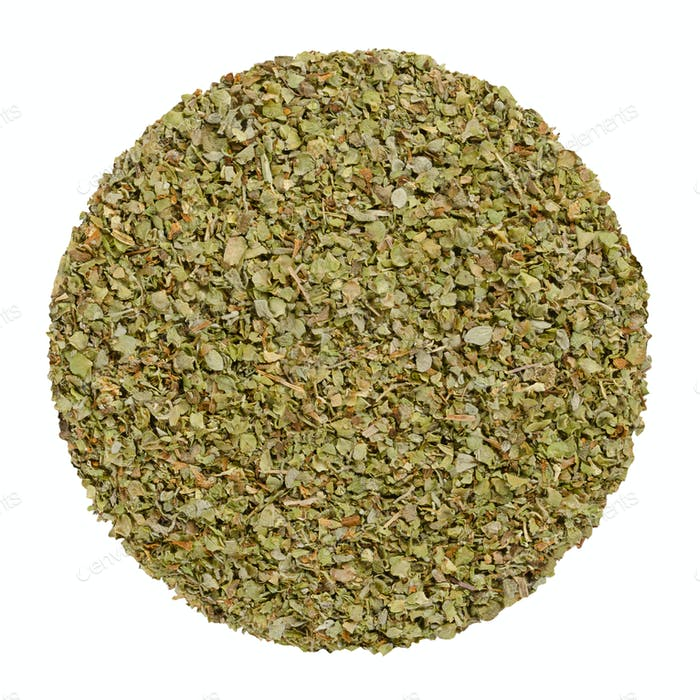 Dried marjoram, herb circle from above, over white