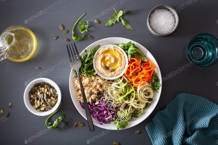 veggie couscous lunch bowl with spiralazed carrots and zucchini,