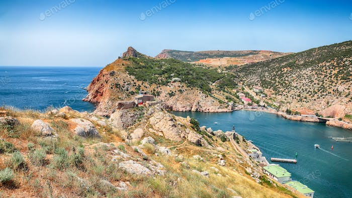 Stunning view of Balaklava bay with yachts from the Genoese fortress Chembalo in Sevastopol city.